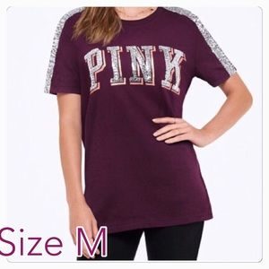 Size M ❤️ PINK VS SEQUIN BLING PERFECT CREW TEE